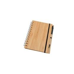 Cuaderno de madera con boligrafo