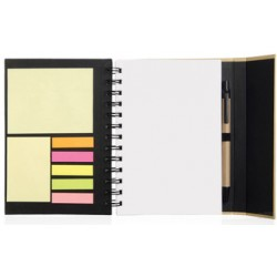 Cuaderno ecologico negro con post its