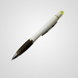 Boligrafo con resaltador cuerpo blanco
